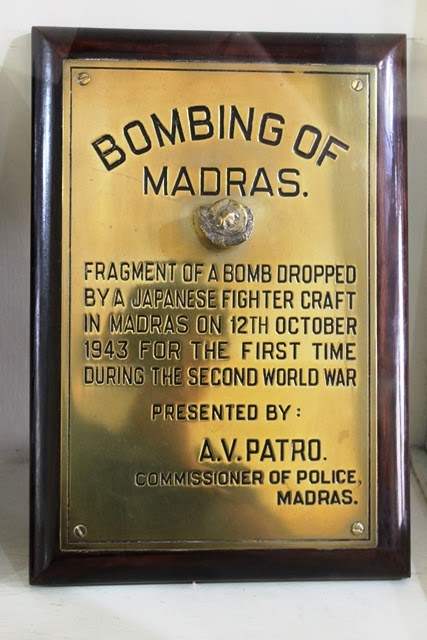 爆弾の破片の展示