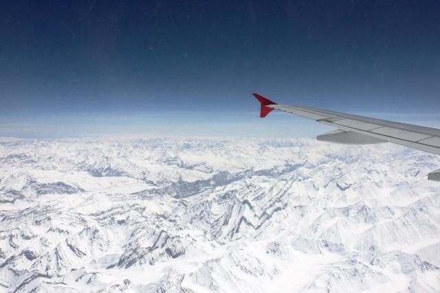 デリー⇔レーの飛行機から眺める景色