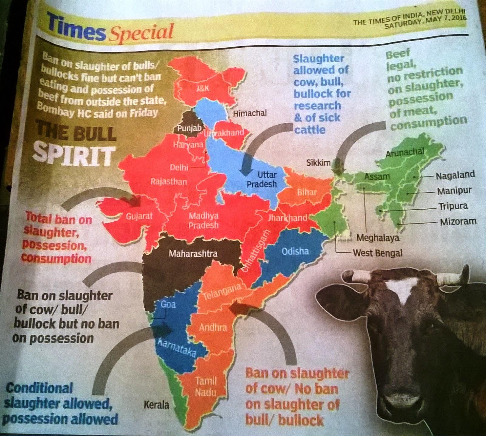 インド 牛肉:州別牛肉関連の法律
