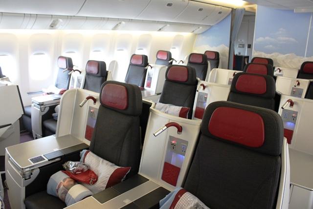 オーストリア航空ビジネスクラス機内