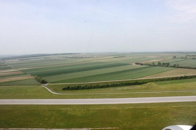 空港近辺は麦畑