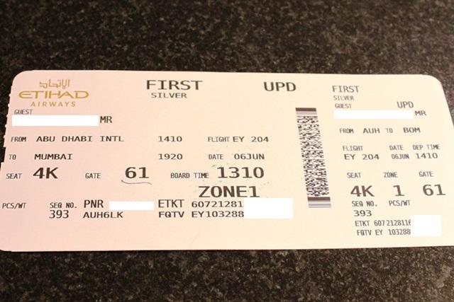 ムンバイ行きの搭乗券