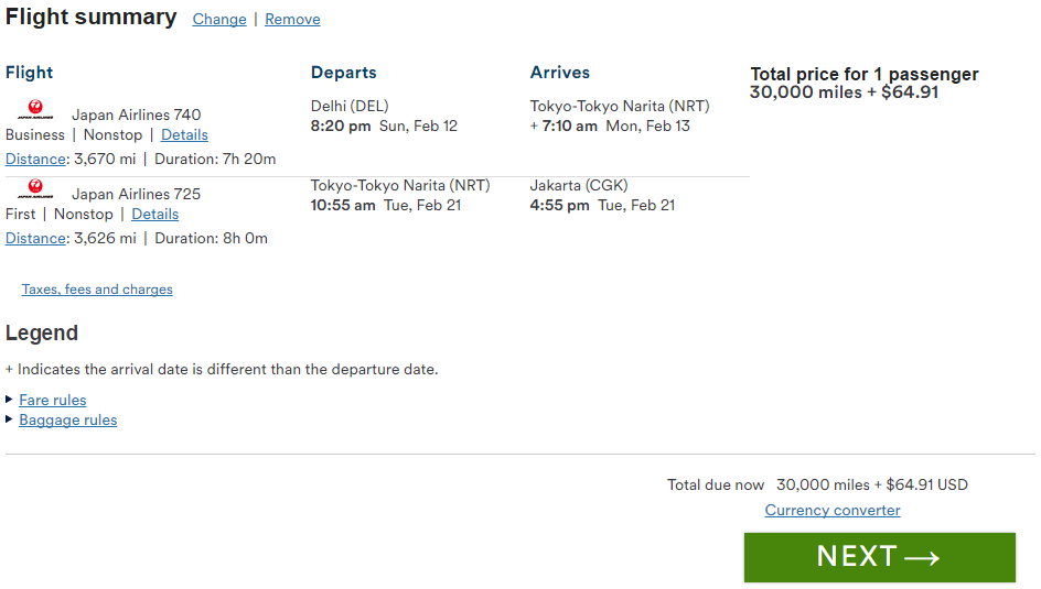 ほら、デリーからジャカルタまでたった30,000マイル (途中東京滞在数泊)