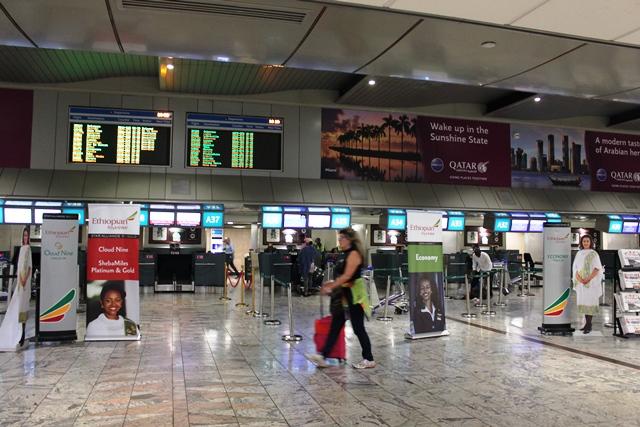 エチオピア航空 777-200LR エコノミー:エチオピア航空チェックインカウンター