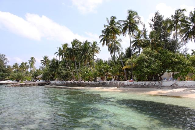 桟橋からリゾートの砂浜を眺める