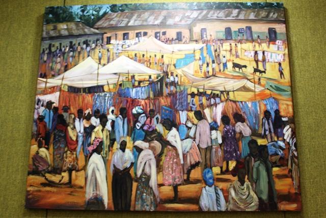 エチオピアの市場を表した絵画