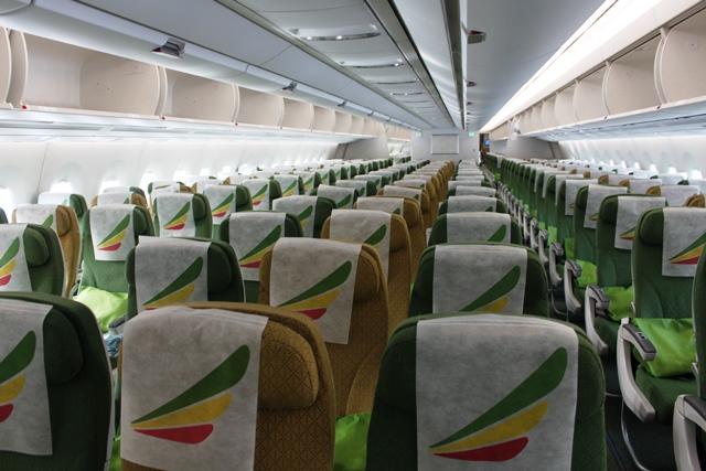 エチオピア航空 A350 エコノミー:エチオピア航空A350機内