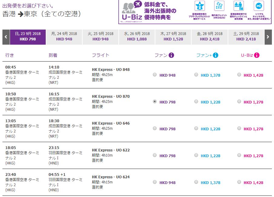 香港エクスプレス 搭乗記:3つの料金設定