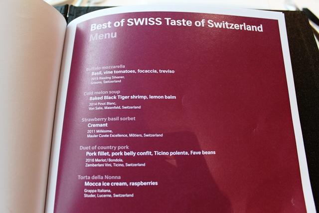 スイス料理フルコース料理のメニュー
