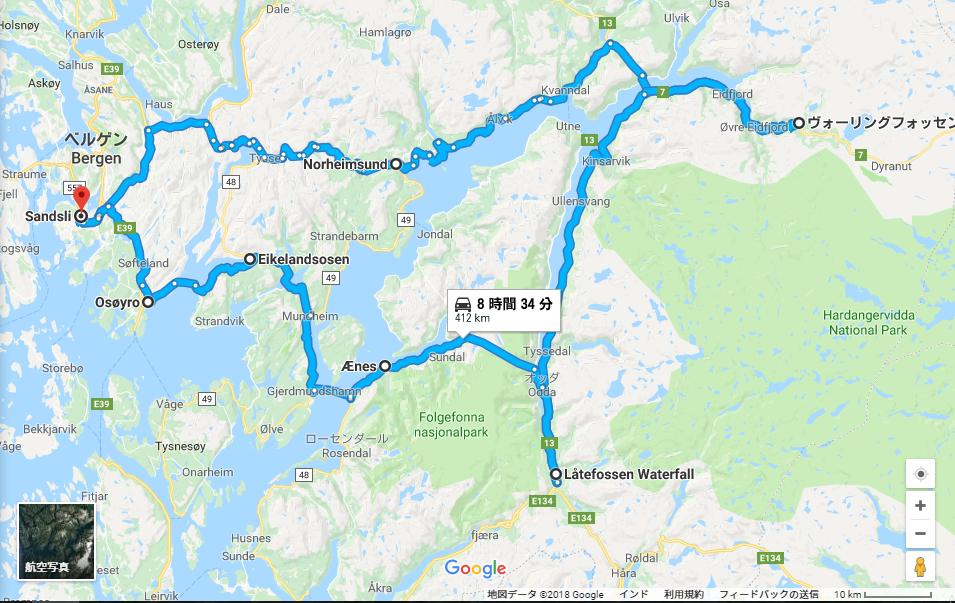 ハルダンゲル フィヨルド 観光:地図