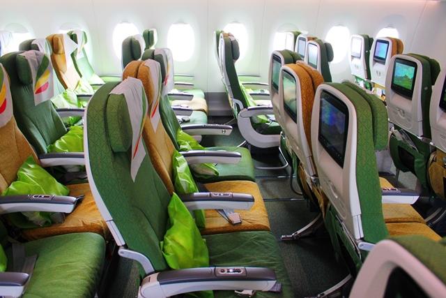 エチオピア航空A350機エコノミー機内