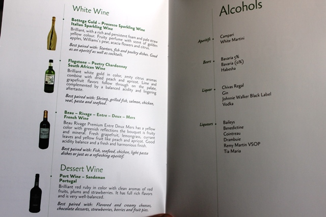 ワインリストとその他アルコール