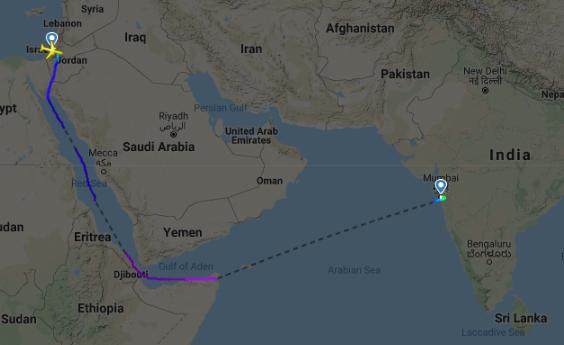 テルアビブ→ムンバイ線の飛行ルート ©Flightradar24